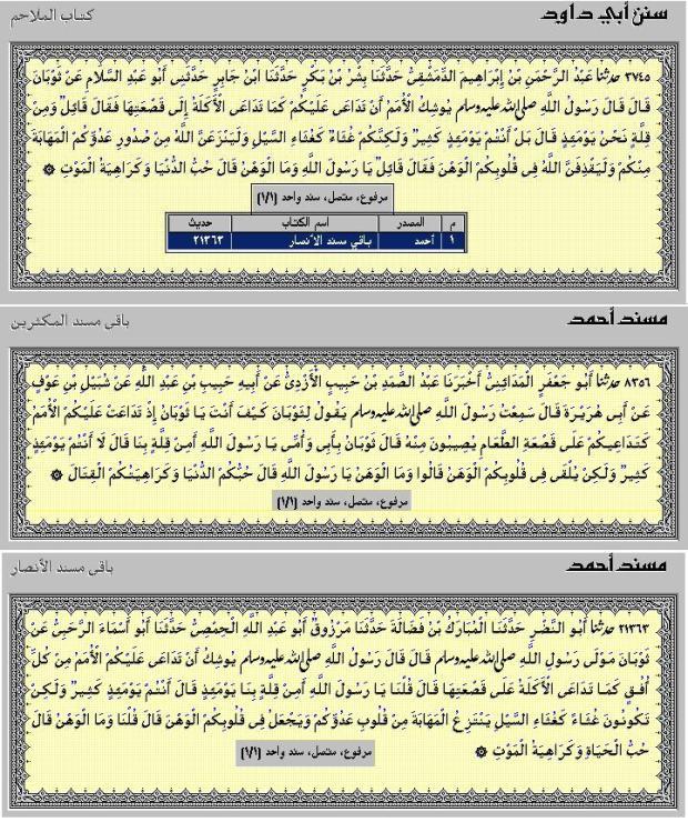 Hadits Al-Wahnu HR.Abu Dawud no.3745 & Achmad no.8356