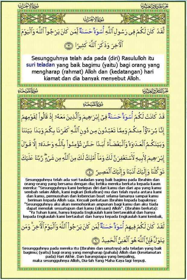 Uswatun Hasanatun dalam Al-Qur'an