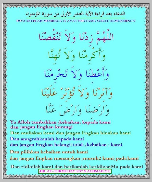 doa SESEDAH baca 10 AYAT pertama surat almu'minuun