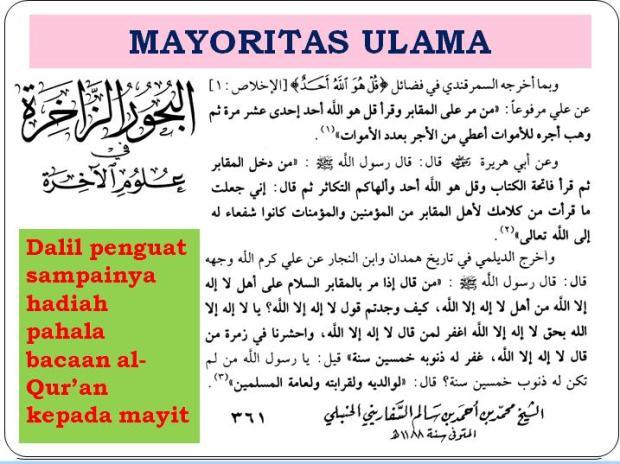 dalil penguat hadiah pahala bacaan al-qur'an buat mayyit menurut Jumhur -mayortas- ulama'