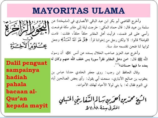 dalil penguat hadiah pahala bacaan al-qur'an buat mayyit menurut Jumhur -mayortas- ulama'2