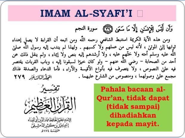 pahala bacaan Al-Qur'an buat mayyit menurut Imam Syafii