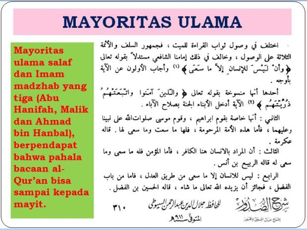 pahala bacaan Al-Qur'an buat mayyit menurut Jumhur -mayortas- ulama'